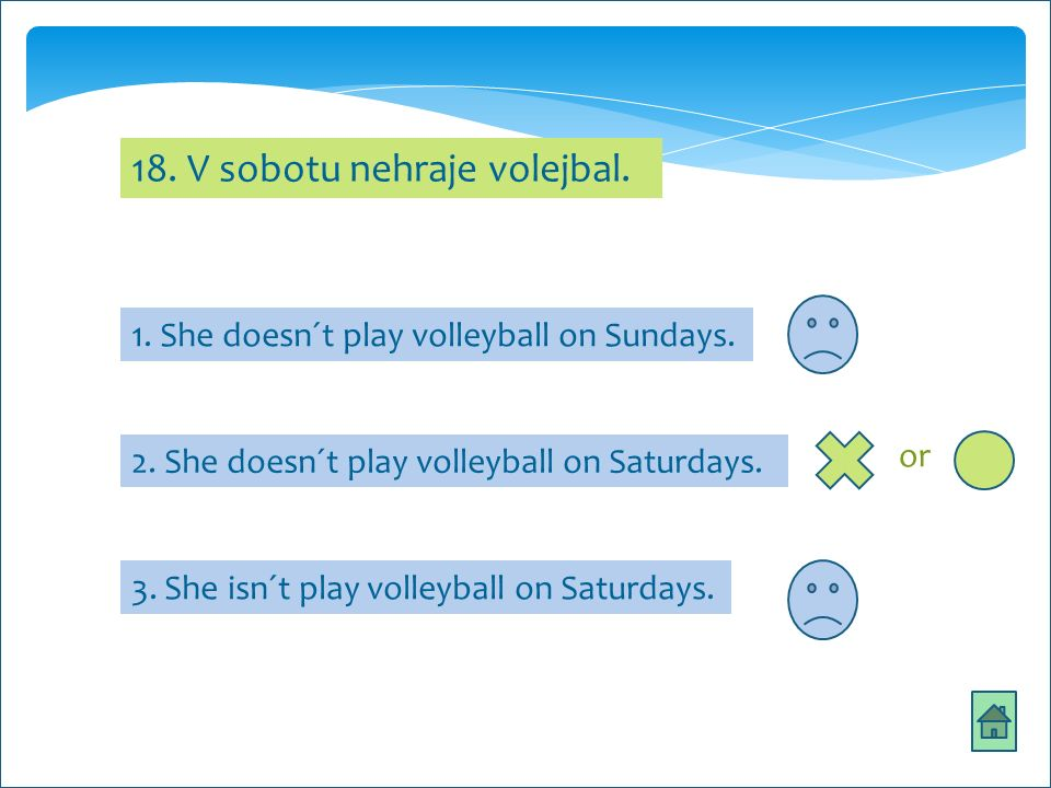 18. V sobotu nehraje volejbal. 1. She doesn´t play volleyball on Sundays.