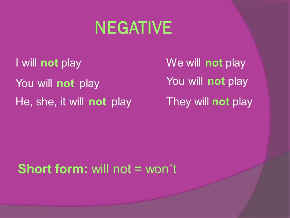 NEGATIVE I willnotplay You willnotplay He, she, it willnotplay We willnotplay You willnotplay They willnotplay Short form: will not = won´t