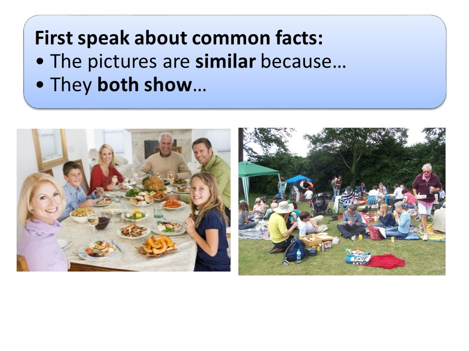 First speak about common facts: The pictures are similar because… They both show…