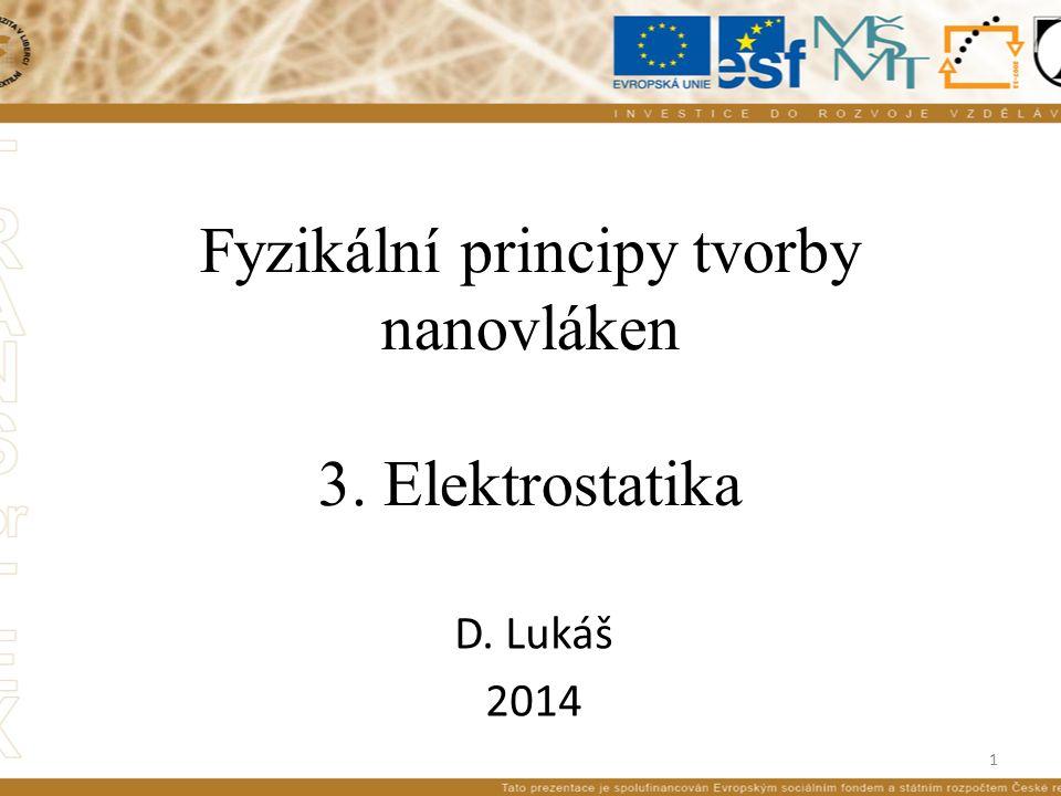 Fyzikální principy tvorby nanovláken 3. Elektrostatika D. Lukáš 2014 1