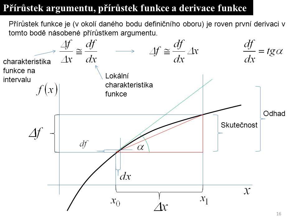 16 Přírůstek argumentu, přírůstek funkce a derivace funkce Lokální charakteristika funkce Odhad Skutečnost Přírůstek funkce je (v okolí daného bodu definičního oboru) je roven první derivaci v tomto bodě násobené přírůstkem argumentu.