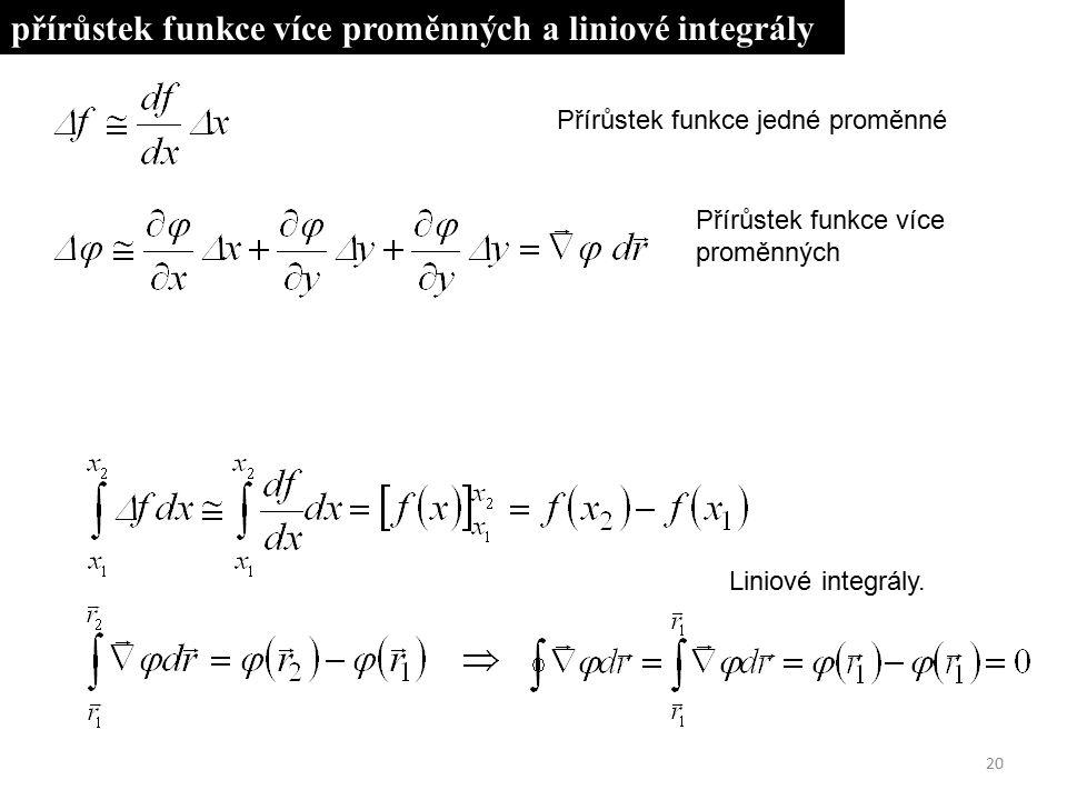 20 Přírůstek funkce jedné proměnné Přírůstek funkce více proměnných Liniové integrály. přírůstek funkce více proměnných a liniové integrály