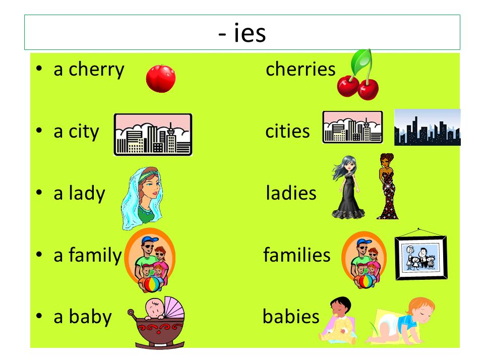 - ies a cherry cherries a city cities a lady ladies a family families a baby babies