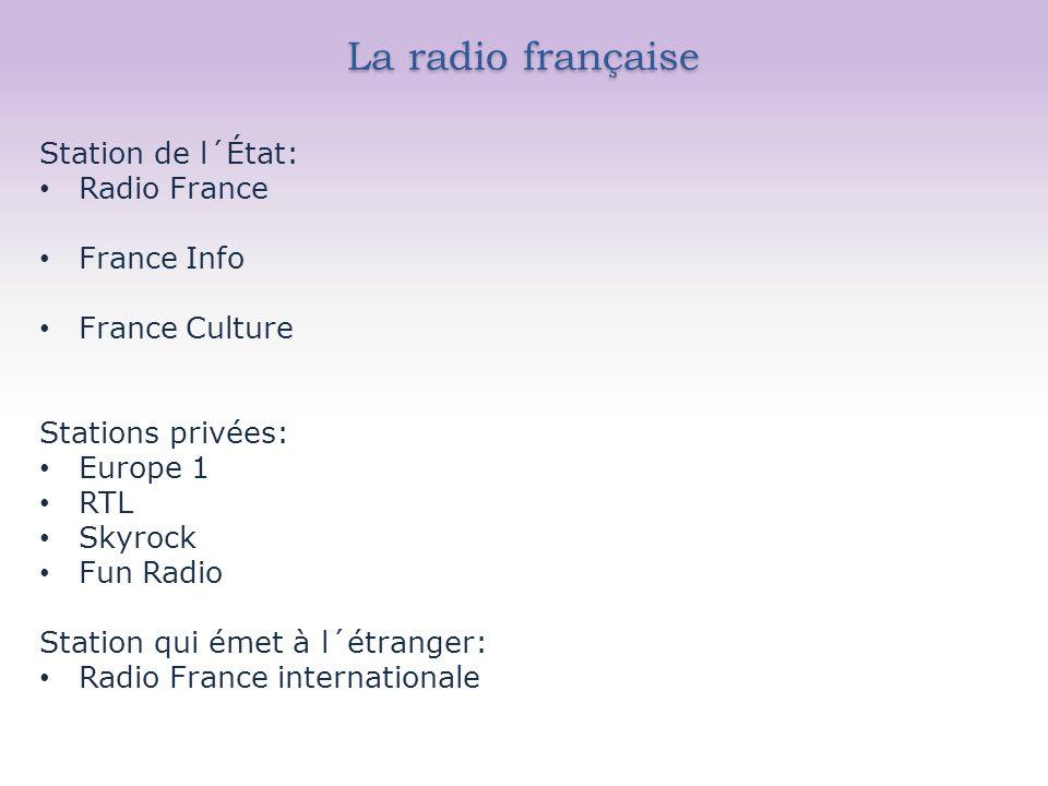 La radio française Station de l´État: Radio France France Info France Culture Stations privées: Europe 1 RTL Skyrock Fun Radio Station qui émet à l´étranger: Radio France internationale
