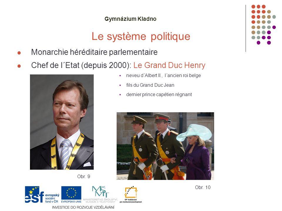 Gymnázium Kladno Le système politique Monarchie héréditaire parlementaire Chef de l´Etat (depuis 2000): Le Grand Duc Henry  neveu d´Albert II., l´ancien roi belge  fils du Grand Duc Jean  dernier prince capétien régnant Obr.