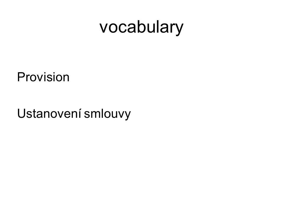vocabulary Provision Ustanovení smlouvy