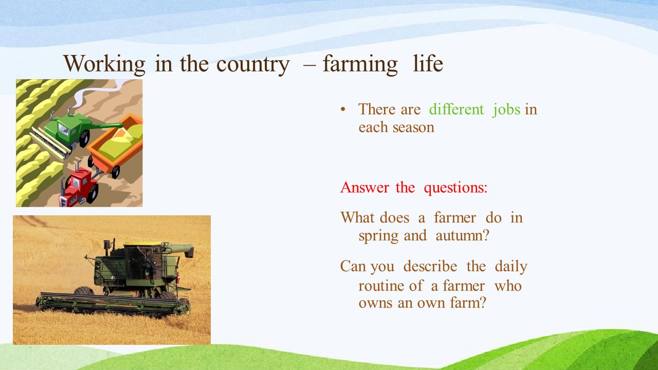 Farmer´s jobs What jobs must a farmer do first.Put the jobs into the right order.