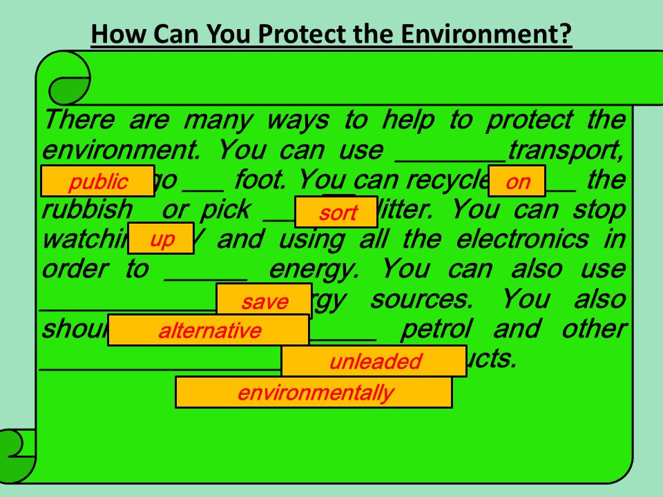 How Can You Protect the Environment. There are many ways to help to protect the environment.
