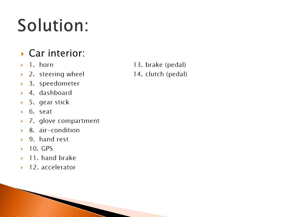  Car interior:  1. horn13. brake (pedal)  2. steering wheel14.
