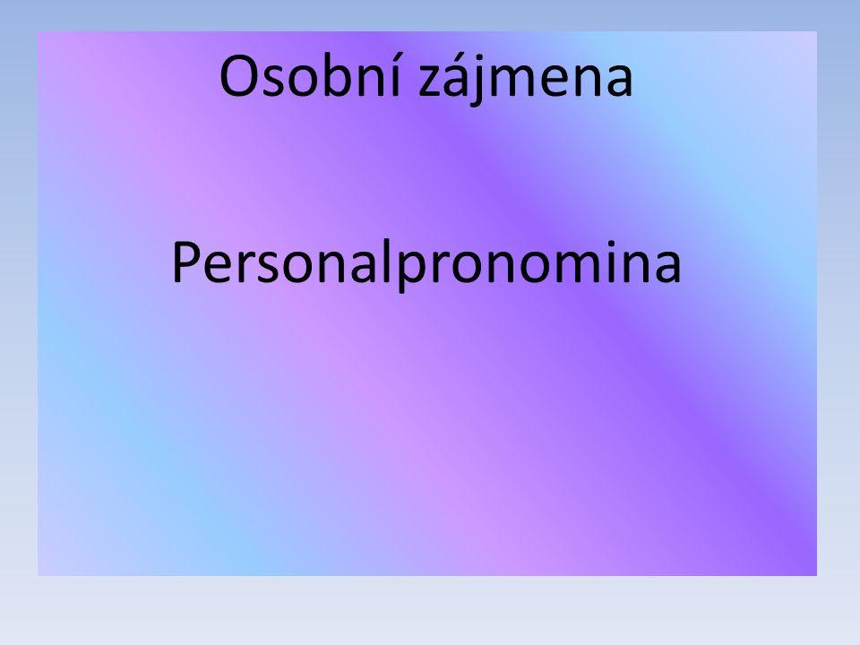 Osobní zájmena Personalpronomina