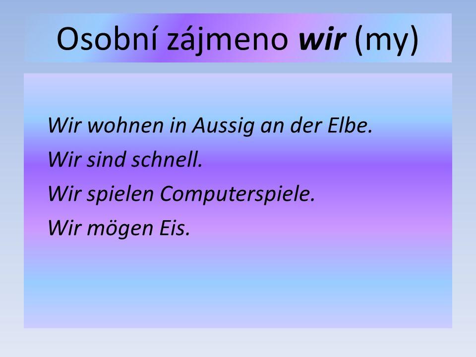 Osobní zájmeno wir (my) Wir wohnen in Aussig an der Elbe.