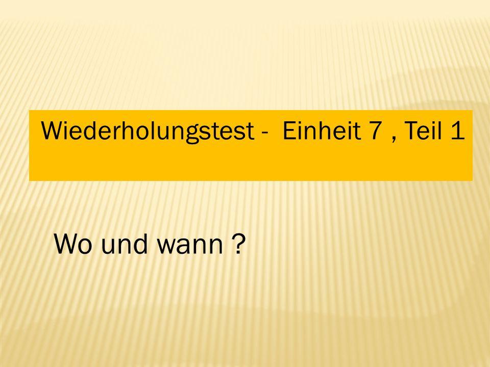 Materiál je určen pro výuku německého jazyka v 8. ročníku ZŠ. Obsahuje opakovací test k lekci 7, učebnice Deutsch mit Max, díl 1 Využití –samostatná k