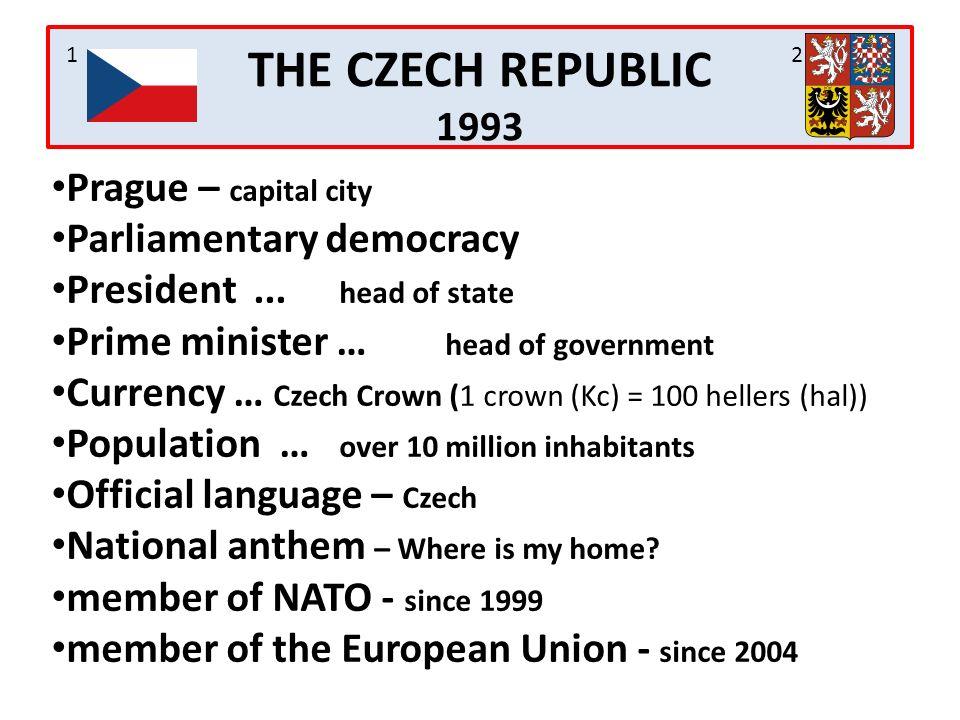 Prague – capital city Parliamentary democracy President...