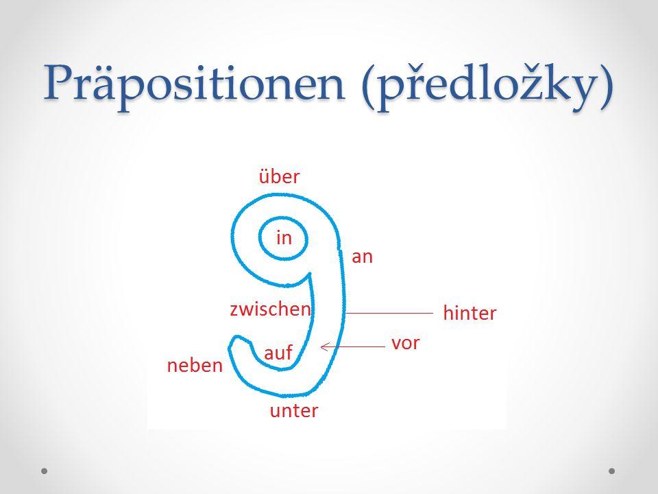 Po předložkách an, auf, in, über, unter, vor, hinter, neben, zwischen může být podstatné jméno nebo osobní zájmeno v dativu (3.p.) nebo v akuzativu (4.p.) Na otázku kam.