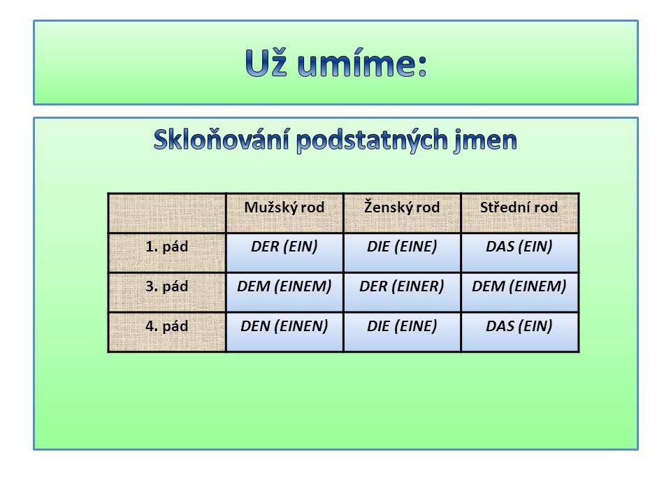 Mužský rodŽenský rodStřední rod 1. pádDER (EIN)DIE (EINE)DAS (EIN) 3. pádDEM (EINEM)DER (EINER)DEM (EINEM) 4. pádDEN (EINEN)DIE (EINE)DAS (EIN)