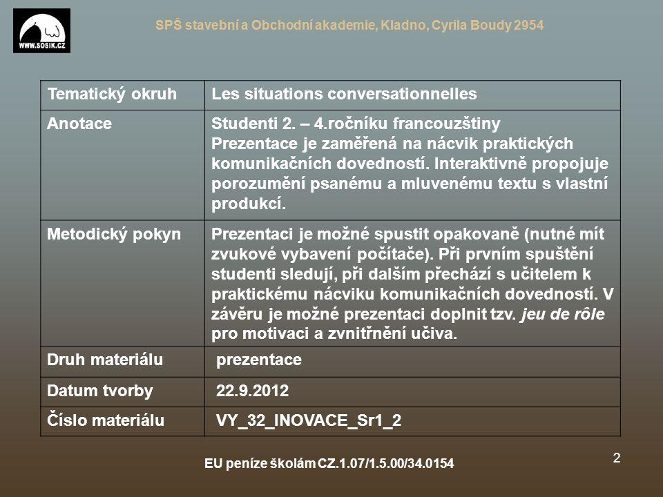 SPŠ stavební a Obchodní akademie, Kladno, Cyrila Boudy 2954 EU peníze školám CZ.1.07/1.5.00/34.0154 1 Je suis un ado et je t´aime Autor: Mgr.