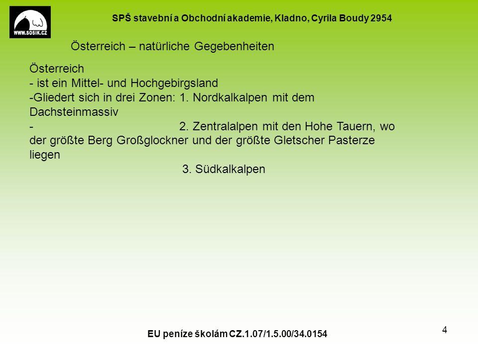 SPŠ stavební a Obchodní akademie, Kladno, Cyrila Boudy 2954 EU peníze školám CZ.1.07/1.5.00/34.0154 5 Österreich – natürliche Gegebenheiten Österreich ist ein wichtiges Durchgangsland nach Südeuropa und zur Apenninenhalbinsel.