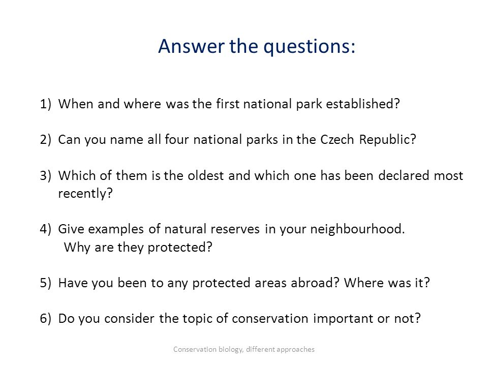 Answer the questions: 1)When and where was the first national park established? 2)Can you name all four national parks in the Czech Republic? 3)Which