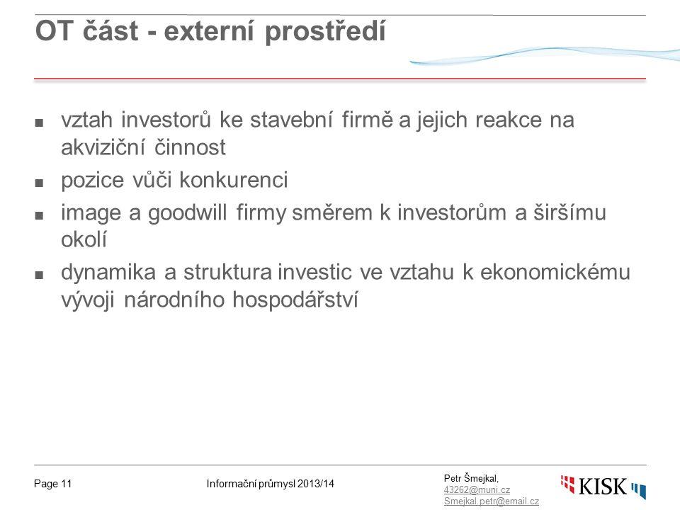 Informační průmysl 2013/14Page 11 Petr Šmejkal, 43262@muni.cz 43262@muni.cz Smejkal.petr@email.cz OT část - externí prostředí ■ vztah investorů ke sta