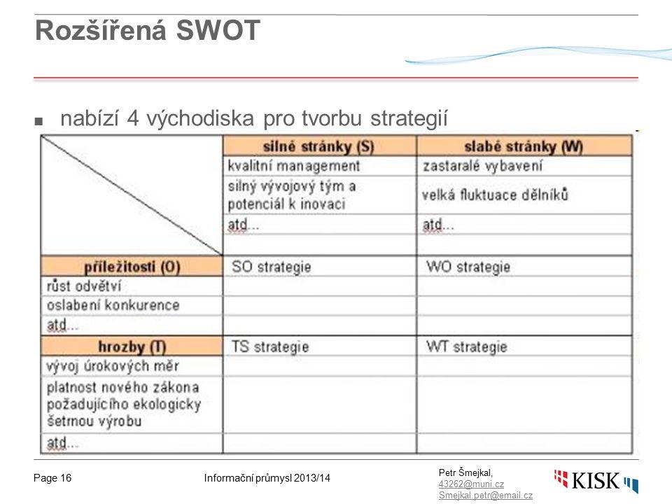 Informační průmysl 2013/14Page 16 Petr Šmejkal, 43262@muni.cz 43262@muni.cz Smejkal.petr@email.cz Rozšířená SWOT ■ nabízí 4 východiska pro tvorbu strategií