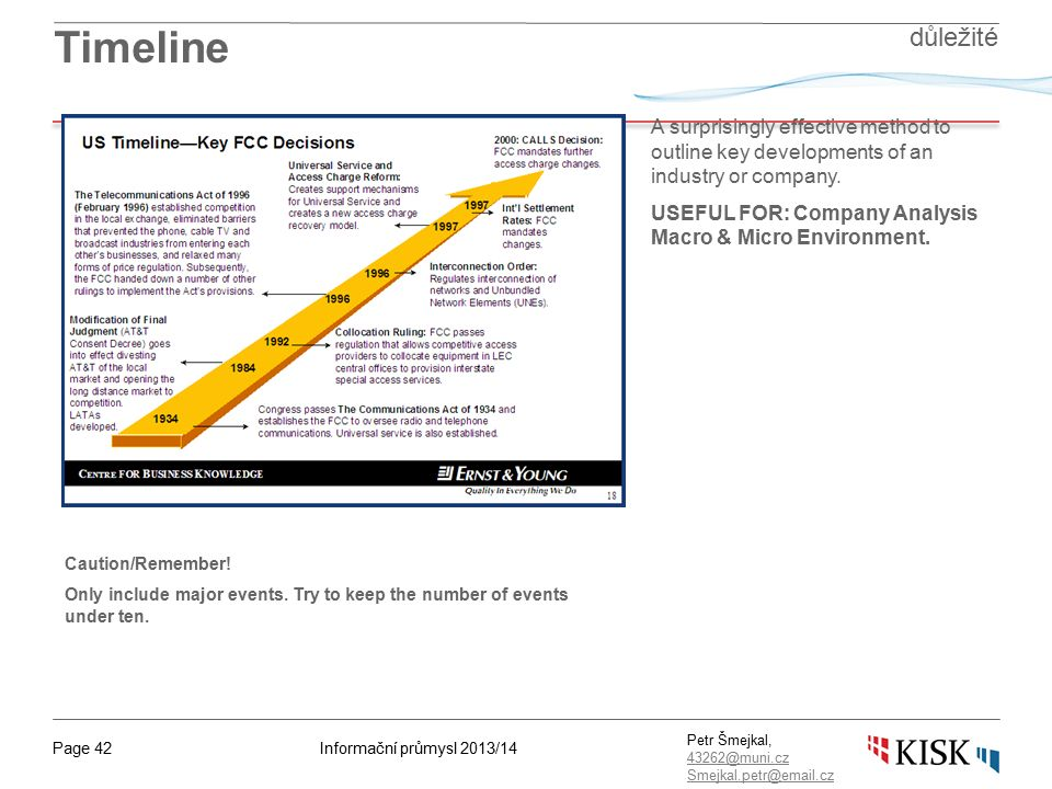 Informační průmysl 2013/14Page 42 Petr Šmejkal, 43262@muni.cz 43262@muni.cz Smejkal.petr@email.cz Timeline A surprisingly effective method to outline key developments of an industry or company.