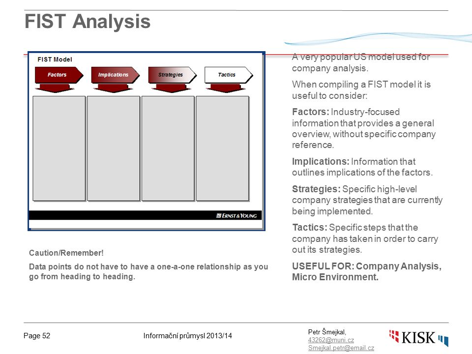 Informační průmysl 2013/14Page 52 Petr Šmejkal, 43262@muni.cz 43262@muni.cz Smejkal.petr@email.cz FIST Analysis A very popular US model used for company analysis.