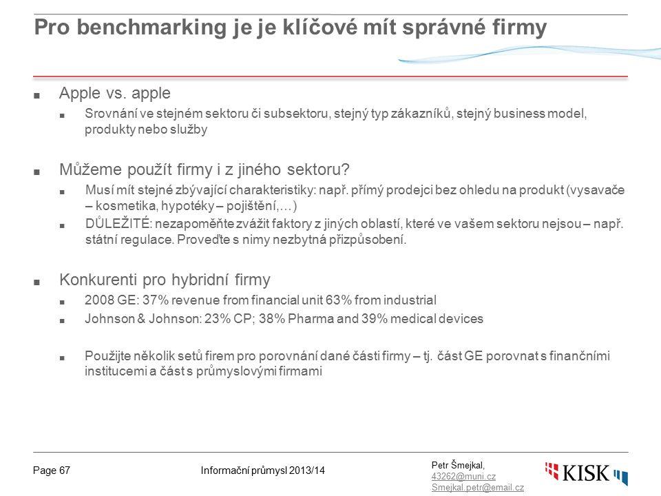 Informační průmysl 2013/14Page 67 Petr Šmejkal, 43262@muni.cz 43262@muni.cz Smejkal.petr@email.cz Pro benchmarking je je klíčové mít správné firmy ■ A