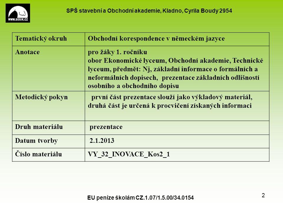 SPŠ stavební a Obchodní akademie, Kladno, Cyrila Boudy 2954 EU peníze školám CZ.1.07/1.5.00/34.0154 2 Tematický okruhObchodní korespondence v německém jazyce Anotacepro žáky 1.