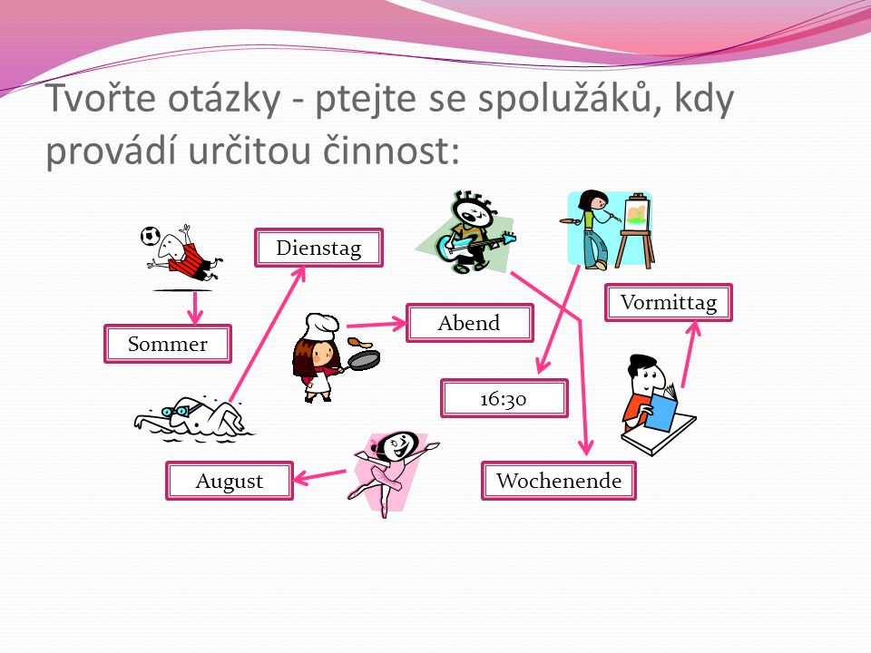 Tvořte otázky - ptejte se spolužáků, kdy provádí určitou činnost: Sommer Abend 16:30 Vormittag Dienstag AugustWochenende
