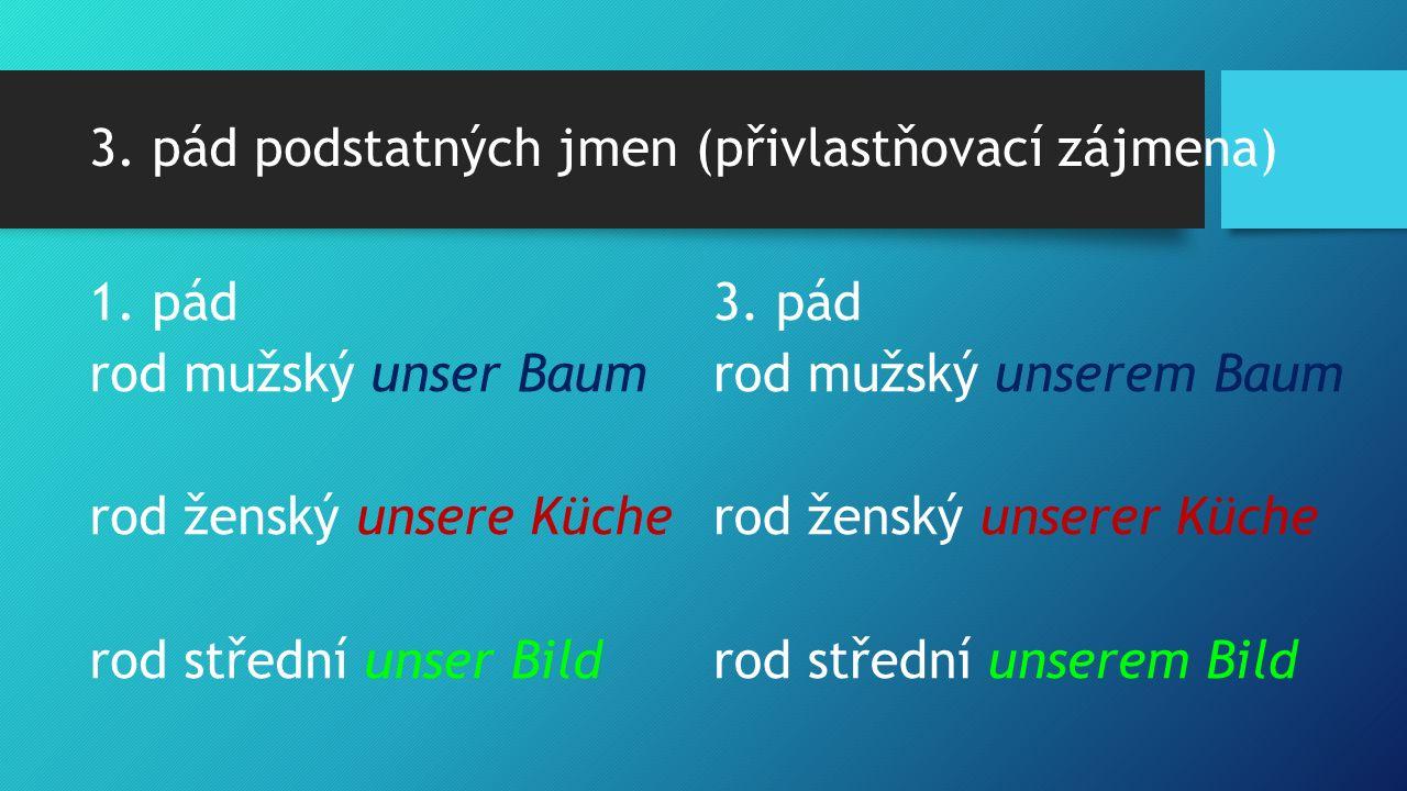 3. pád podstatných jmen (přivlastňovací zájmena) 1. pád rod mužský unser Baum rod ženský unsere Küche rod střední unser Bild 3. pád rod mužský unserem
