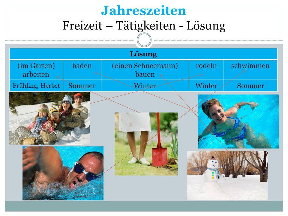 Jahreszeiten Freizeit – Tätigkeiten - Lösung Lösung (im Garten) arbeiten baden(einen Schneemann) bauen rodelnschwimmen Frühling, Herbst SommerWinter S