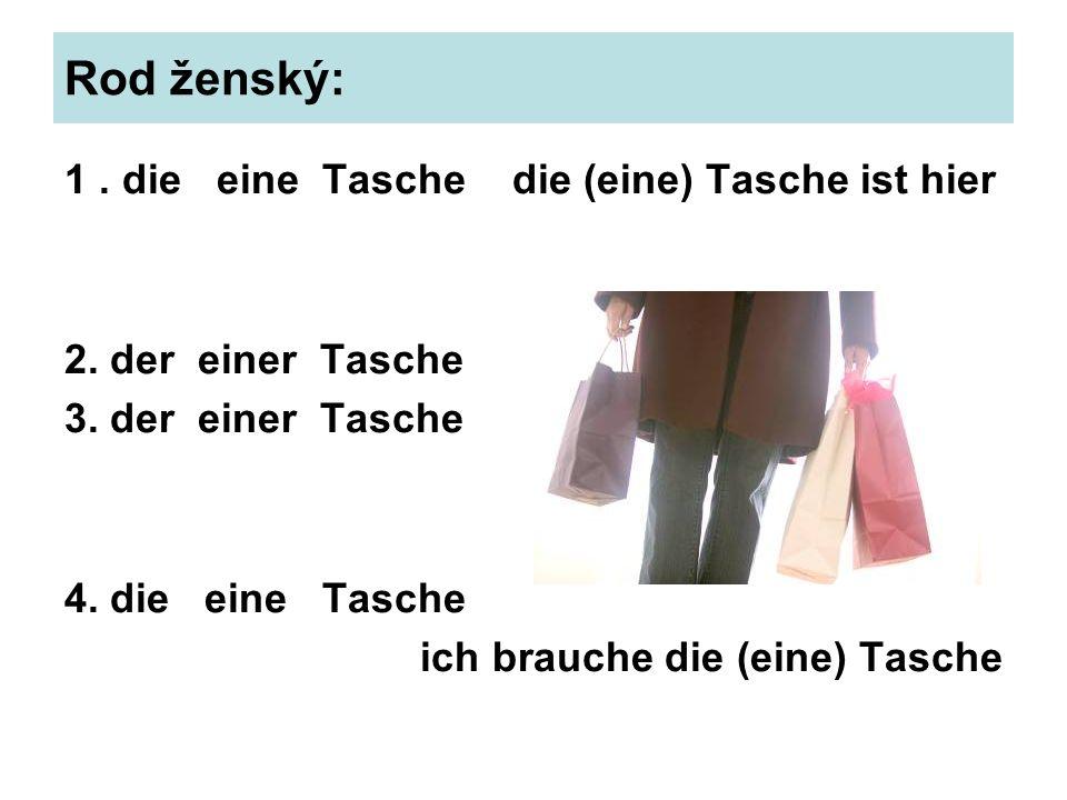 Rod ženský: 1. die eine Tasche die (eine) Tasche ist hier 2. der einer Tasche 3. der einer Tasche 4. die eine Tasche ich brauche die (eine) Tasche