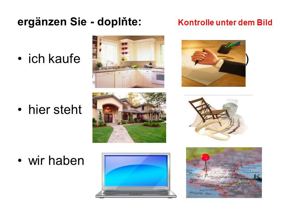 ergänzen Sie - doplňte: Kontrolle unter dem Bild ich kaufe die (eine) den (einen) Küche Kuli hier steht das (ein) der (ein) Haus Stuhl wir haben den (einen) die (eine) Computer Karte