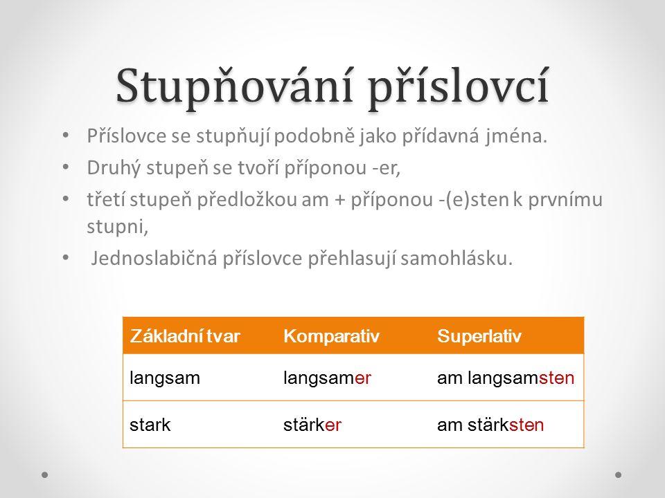 Stupňování příslovcí Příslovce se stupňují podobně jako přídavná jména.