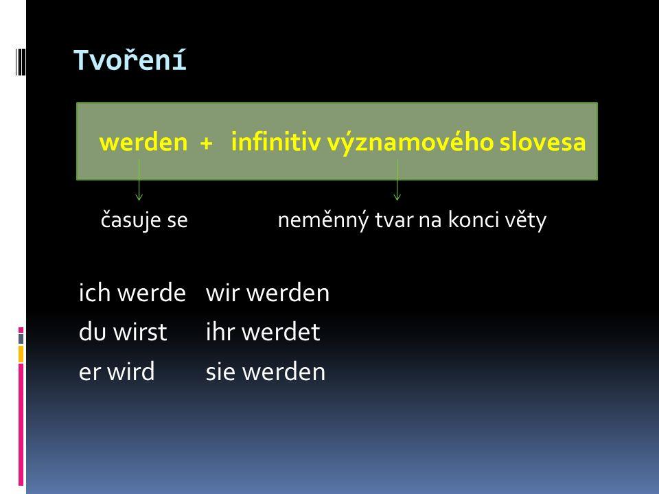 Tvoření časuje se neměnný tvar na konci věty ich werdewir werden du wirstihr werdet er wirdsie werden werden + infinitiv významového slovesa