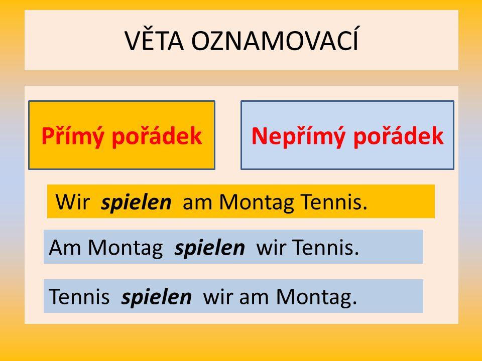 VĚTA OZNAMOVACÍ Přímý pořádekNepřímý pořádek Wir spielen am Montag Tennis.