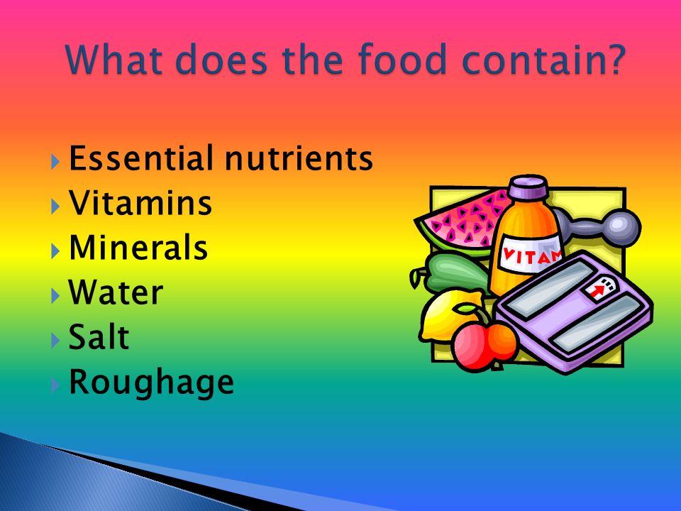  Essential nutrients  Vitamins  Minerals  Water  Salt  Roughage