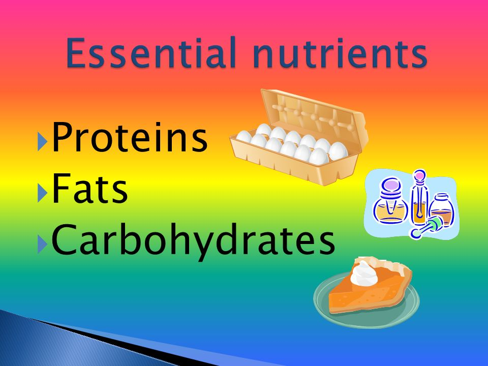  Proteins  Fats  Carbohydrates