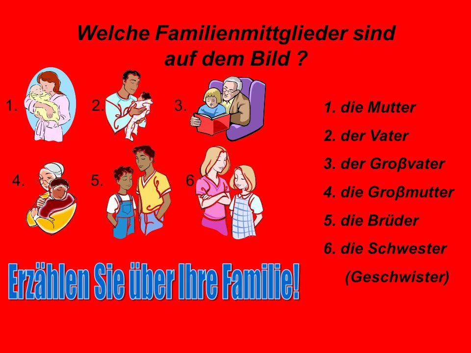 Wie heiβen folgende Familienmittglieder. 1. 2. 3.