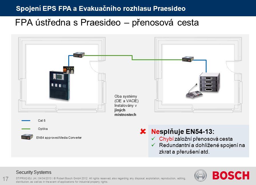Cat 5 Oba systémy (CIE a VACIE) Instalovány v jiných místnostech EN54 approved Media Converter Optika Nesplňuje EN54-13: Chybí záložní přenosová cesta Redundantní a dohlížené spojení na zkrat a přerušení atd.