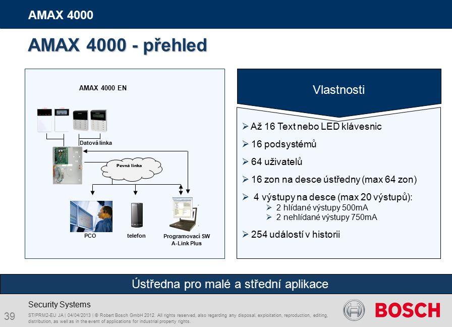 39 AMAX 4000 Security Systems telefon Datová linka AMAX 4000 EN PCO Programovací SW A-Link Plus AMAX 4000 - přehled Pevná linka ST/PRM2-EU JA | 04/04/2013 | © Robert Bosch GmbH 2012.