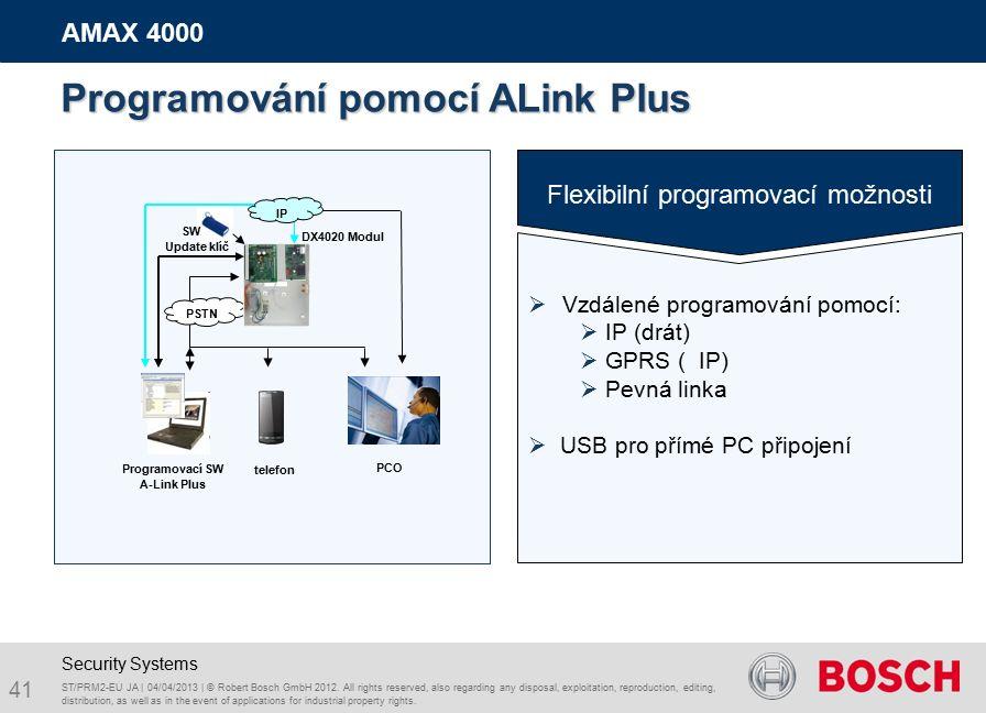 41 AMAX 4000 Flexib i l ní program ovací možnosti  Vzdálené programování pomocí:  IP (drát)  GPRS ( IP)  Pevná linka  USB pro přímé PC připojení DX4020 Modul PCO Programovací SW A-Link Plus telefon PSTN IP ST/PRM2-EU JA | 04/04/2013 | © Robert Bosch GmbH 2012.