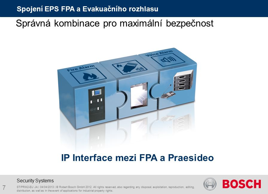 Spojení EPS FPA a Evakuačního rozhlasu ST/PRM2-EU JA | 04/04/2013 | © Robert Bosch GmbH 2012. All rights reserved, also regarding any disposal, exploi