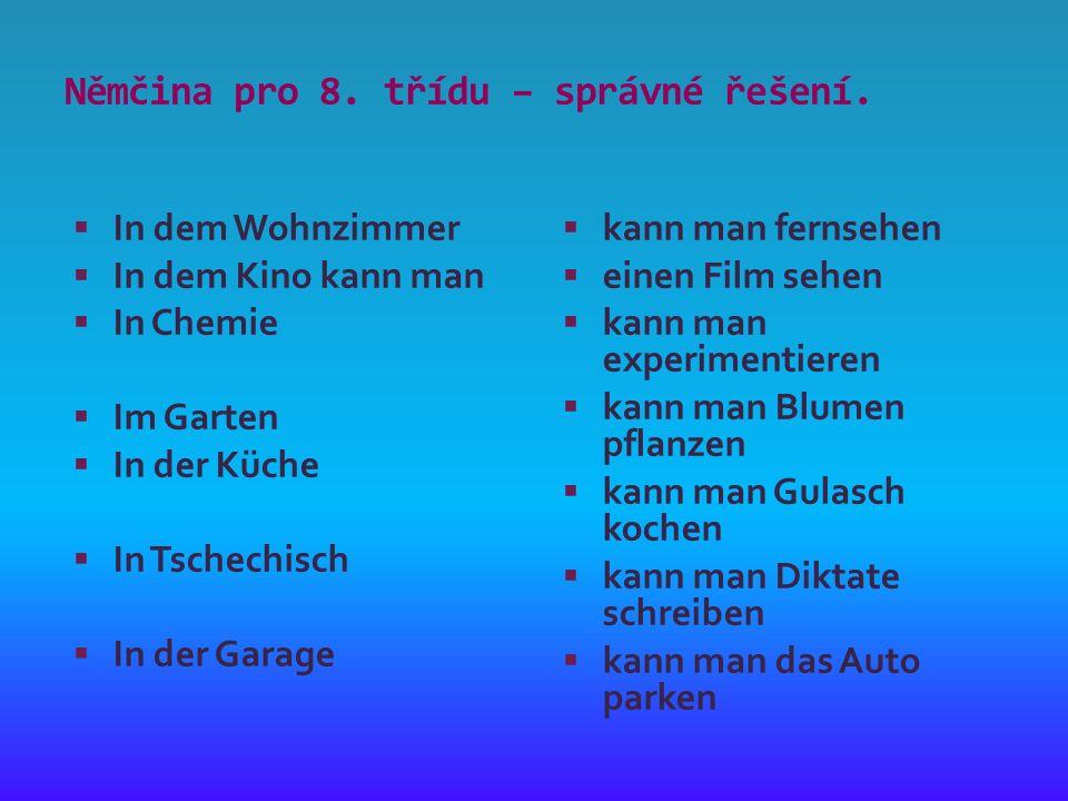 Němčina pro 8. třídu – správné řešení.
