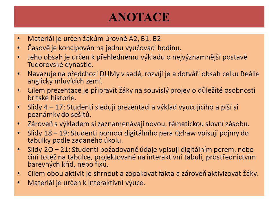 ANOTACE Materiál je určen žákům úrovně A2, B1, B2 Časově je koncipován na jednu vyučovací hodinu. Jeho obsah je určen k přehlednému výkladu o nejvýzna