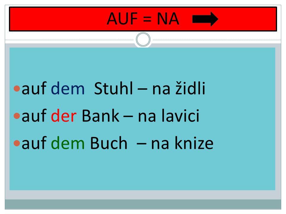 IN = V in dem (= im) Schrank – ve skříni in der Schule – ve škole in dem Haus (= im) – v domě IM = IN DEM