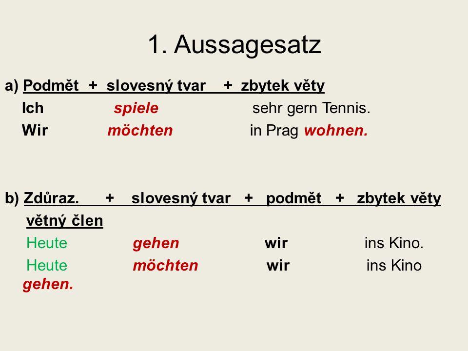 1. Aussagesatz a) Podmět + slovesný tvar + zbytek věty Ich spiele sehr gern Tennis.