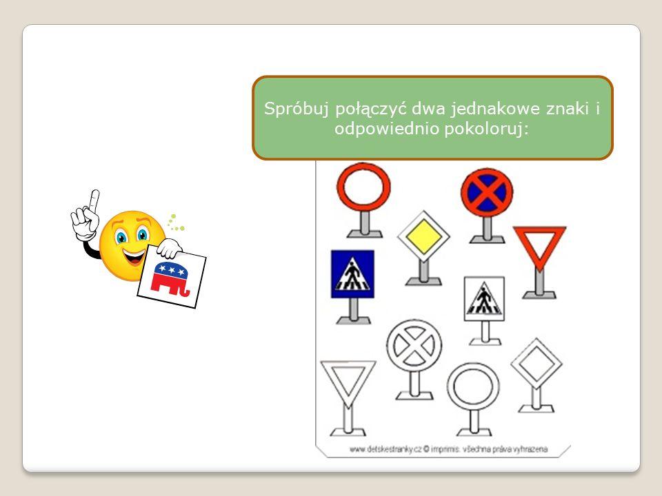Pokoloruj znaki drogowe i spróbuj je nazwać: