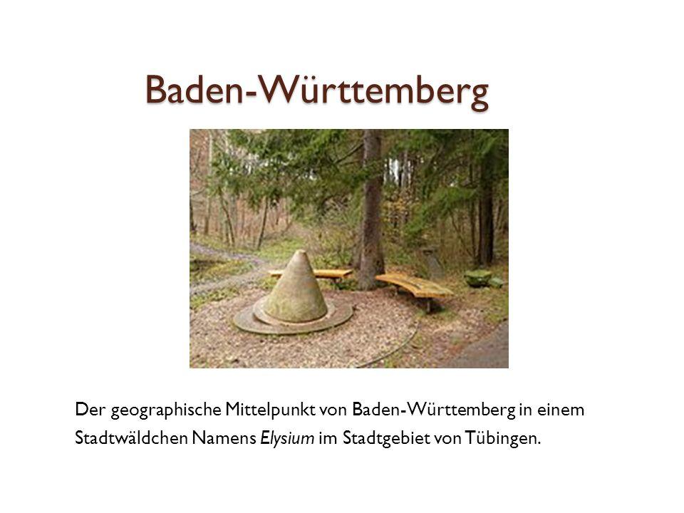 Baden-Württemberg Der geographische Mittelpunkt von Baden-Württemberg in einem Stadtwäldchen Namens Elysium im Stadtgebiet von Tübingen.