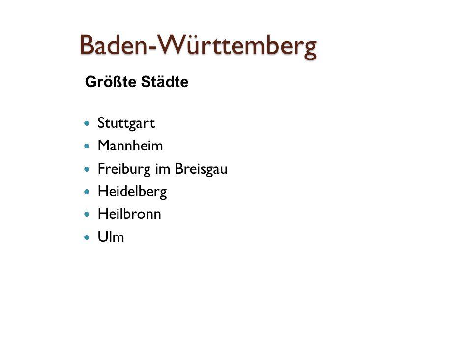 Stuttgart Landeshauptstadt von Baden –Württemberg Fluss Neckar die sechsgrößte Stadt Deutschlands